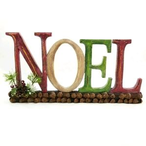 """Rustic """"NOEL"""" Letters Christmas Table Sign Decor"""